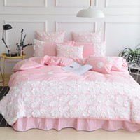 ingrosso set di biancheria plaid blu-Cotton Princess Pink Bed Set Grigio Lace Ruffle Flower Bedding 4pcs Set King Queen Size Green Blue Camel Copripiumino Copriletto Federa Set