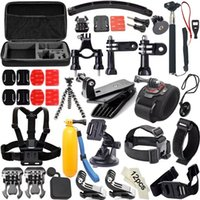 kits de gopro al por mayor-50 en 1 GoPro Accessories Set Go pro Remote Wrist Strap 50-in-1 Travel Kit Accessories + funda protectora a prueba de golpes cámara deportiva Hero