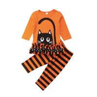 Discount girls striped ruffle leggings - 1-6Y Toddler Kid Baby Girl Cat Kitten Cotton Long Sleeve Ruffle T-shirt Tops Striped Pant Leggings Baby Clothes Outfits 2Pcs Set