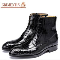 italienische dressing man boots großhandel-GRIMENTIN Marke in Handschuhe für Männer echtes Leder Krokodilkorn Männer Ankle Boots heißen italienischen Verkauf Modegeschäft Kleidung Schuhe Mann