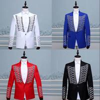 Wholesale Design Dance Pants - Black red stage novelty rivet buckle blazer men formal dress latest coat pant designs suit men dance trouser suits for men's