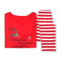 pijamas de navidad para mujer al por mayor-Hot Fairy XMAS Family Matching Christmas Pyjamas Set Women's Women Kids Deer Striped ropa de dormir ropa de dormir ropa