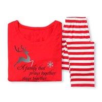 erkek gecelik triko toptan satış-Sıcak Peri XMAS Aile Eşleştirme Noel Pijama Takımı erkek Kadın Çocuk Geyik Çizgili Pijama Gecelik Giysileri