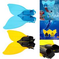 nadadeiras de mergulho venda por atacado-Adolescente Adolescente Profissional Barbatanas Mergulho Sereia Nadar Mergulho Monofin Natação Pé Flipper Snorkeling Sapatos Equipamento