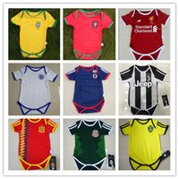 Wholesale grey baby jumpsuit - kids 17 18 Real Madrid Baby soccer Jerseys Cotton Short Sleeves Jumpsuit Baby Triangle Climb Clothes Loveclily 2017 2018 baby's jersey shirt