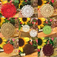 Wholesale crochet mats patterns resale online - DIY Household Handmade Crochet Cup Pad Coffee Cup Coasters Mats Lace Pattern Table Cloth Coasters Round Placemats CM