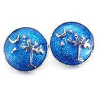 jóias árvores venda por atacado-Relógios mulheres Lua e Árvore charm bracelet Metal 18mm botão de pressão para pulseira de couro pulseira partido jóias 011210