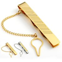 krawatte clip stahl großhandel-7mm Gold / Gold Silber Ton Rhombus Edelstahl Herren Krawattenklammer Verschluss W Kette
