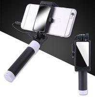ayna monopodu toptan satış-Evrensel selfie sopa ile iphone 5 5 s se 5c için 6 6 s artı monopod kablolu mini spor selfie sopa ios androic perche için selfi sopa