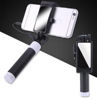зеркальный монопод оптовых-Универсальный Selfie Stick с зеркалом для iPhone 5 5S SE 5C 6 6S плюс монопод проводной мини спорт Selfie Stick для IOS Android Perche Selfi Stick