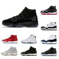 Wholesale black cap women - New Cool Grey 11 11s Mens Basketball Shoes Platinum Tint Cap and Gown Gym Red Midnight Navy women Bred Space Jam Sports Sneakers