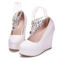 shoes purple heels rhinestone 2018 - New Crystal chain round toe shoes for women white simple heels fashion platform beading wedding shoes wedge heels Plus Size Bridal heels