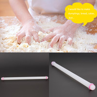 Discount cake roller pin - Wholesale-50cm Large Pastry Dough Roller Non-Stick Rolling Pin Sugarcraft Cookie Fondant Cake Baking Tools Cake Decoration
