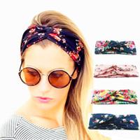bükülmüş saç bantları toptan satış-Kadınlar büküm türban çiçek tasarımcı baskılar kafa bandı streç spor kızlar için headwrap bandana saç aksesuarları takı yoga hairbands