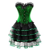 викторианские юбки оптовых-викторианский корсет платья Хэллоуин костюмы корсеты бюстье платье с юбкой набор мини-пачка юбка корсет overbust зеленый фиолетовый