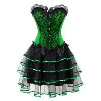 kostüme grüne tutus großhandel-viktorianischen Korsett Kleider Halloween Kostüme Korsetts Bustier Kleid mit Rock Set Mini Tutu Rock Korselett Overbust grün lila