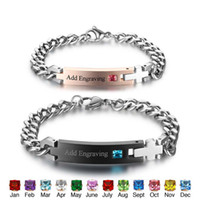 Wholesale id bracelet for sale - Group buy Customized Birthstone Name ID Bracelets Bangles Stainless Steel Love Bracelets For Couple Her King His Queen BA101977
