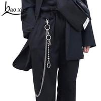 кольца из панк-рока оптовых-2018 Long Metal disco  Chain Rock Punk Trousers Hipster Keychain Ring Clip Keyring HipHop pants Belt chain Accessories