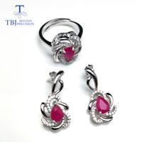regalos para ruby aniversario al por mayor-TBJ, natural pe5 * 7 2.7ct vivid Red Ruby Ring y aretes de joyería en plata de ley 925 para mujeres aniversario regalo de boda