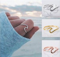 Wholesale ring thin band for sale - 3 colors women Simple Dainty Thin Wave Ring Beach Sea Surfer Island Jewelry R162