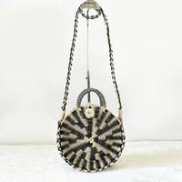 Wholesale Handmade Bags Summer Fashion - Chic Handmade Rattan Woven Round Handbag Vintage Retro Straw Knitted Messenger Bag Lady Handbag Summer Beach Tote Circle Bag J211