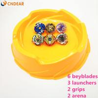 große beyblades großhandel-Beyblade Burst Toys orange Arena Mit Launcher Starter Bayblade Metal Fusion Gott Kreisel Bey Blade Blades Jungenspielzeug F