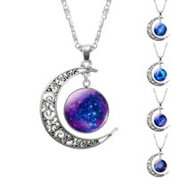 Wholesale Wholesales Best Friends Necklaces - 1 Pcs Hollow Moon & Glass Galaxy Statement Necklaces Silver Chain Pendants 2018 New Fashion Jewelry Collares Friend Best Gifts