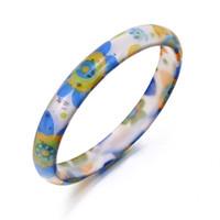 акриловый браслет оптовых-Мода ювелирные изделия красочные акриловые браслеты браслеты ювелирные изделия для женщин цветочный узор круглая рука браслет B132