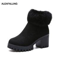 сапоги женские оптовых-Aleafalling Женская обувь Warn Snow Boots Zip Botas Женские женские ботильоны из искусственного меха с толстой подошвой WBT305