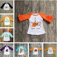 araba düşüşü toptan satış-Cadılar bayramı Bebek Kız Giysileri Güz Kız Ruffled Kollu T-Shirt Toddler Bebek Unicorn Mektup Kabak Araba Pamuk Raglan Tops Çocuk Giyim
