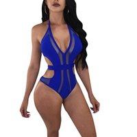 kafesli yüzme giyim toptan satış-2018 Yeni Seksi Moda Plaj Stil Kadın Bodysuit Katı Halter Kolsuz Hollow Out Bodycon Romper Mesh Yüzmek Aşınma Siyah / Mavi