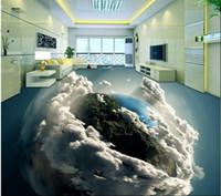 водонепроницаемые обои оптовых-3 d PVC flooring custom photo waterproof self adhesion 3 d earth's living room bathroom flooring 3d wall murals wallpaper