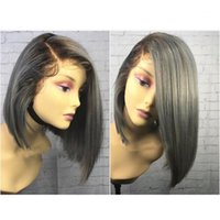 Wholesale grey african lace - Sexy 150% Density Grey Wig 12inch Ombre Short Bob Wig Heat Resistant Synthetic Lace Front Wig With Baby Hair For African American Wigs