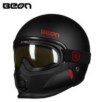 beon capacete novo venda por atacado-Nova Beon capacete da motocicleta do vintage com removível máscara removível rosto cheio retro scooter moto capacetes capacetes personalizados