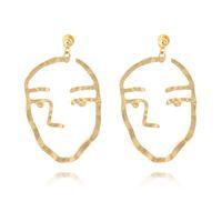 renk soyut sanat toptan satış-Alaşım Soyut Sanat Altın Gümüş Renk İnsan Yüz Sarkan Küpe Kadınlar Için Maxi Bildirimi Kulak Çiviler Parti Takı Hediye D451L