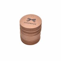 etiquetas etiquetas hechas a mano al por mayor-500 unids / lote etiqueta hecha a mano de Kraft 4 * 4 cm etiqueta de la etiqueta engomada de la vendimia diy hecho a mano para el regalo torta de la hornada del lacre etiqueta favores de partido