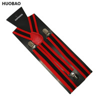 Wholesale Mens Clip Y Suspenders - Free Shipping 2017 Women Mens 2.5cm Wide Clip-on Red And Black Stripes Braces Elastic Y-back Suspenders