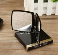 Wholesale black decorative gift boxes - Hot sale! 2018 New Classic High-grade Acrylic Folding double side mirror   Clamshell black Portable makeup mirror + with gift box vip gift