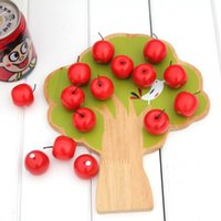 Wholesale magnetic blocks educational toys resale online - Funny Puzzle Building Block For Kids Learning Math Early Educational Toy Wooden Magnetic Apple Tree Toys Durable mt BB