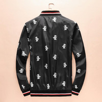 ingrosso supporto fiore nero-Uomo nero Collo colletto Animale Cerniera fiore rotto Giacca Streetwear movimento Tempo libero moda Nuovo stile Chimerism Jacket