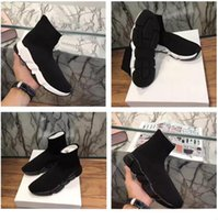 Wholesale Famous Brands Socks - 2017 New Men and Women Designer Shoes Paris Famous Brand Speed Trainer Mid Black White Top Quality Sneakers Mens Sock Shoes Free Shipping
