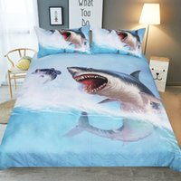 Wholesale double comforter sets - 3D Bedding Set Polyester Duvet Cover Printed 3D Shark Bedclothes Unique Design No Fading Twin Full Queen Double King Size Free Shopping