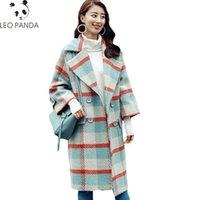 casaco xadrez em lã mais tamanho venda por atacado-2018 moda xadrez casaco de lã casaco de inverno mulheres jaqueta de lã de lã feminino parka longo cashmere solto plus size outerwear hf477