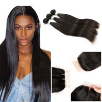 Wholesale silk closure hair weft resale online - Straight Virgin Hair Bundles With Lace Closure A Brazilian Human Hair Weave Bundles With Silk Base Closure Free Middle Three Part