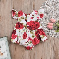 Wholesale INS Baby Fashion Outfit Baby Girl Romper Summer Bodysuits all in ones Sleeveless Big Flower Printed Triangle Wear