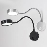 işık düğmeleri toptan satış-Topuzu Anahtarı Ile LED Duvar Lambaları 5 W AC90-260V Gümüş Yatak Odası Başucu Okuma Işık Yönü Ayarlanabilir Kapalı Aydınlatma