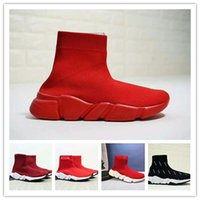 Wholesale over knee men boots for sale - Group buy 2018All red HOT NEW Speed sock high quality Speed Trainer shoes for men and women shoes Speed stretch knit shoes Mid sneakers size Eur