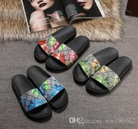 Wholesale womens slipper booties - with box 2018 mens and womens fashion causal slippers boys &girls tian blooms print flower slide sandals unisex outdoor beach flip flops