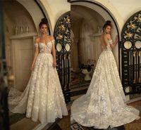 Wholesale shoulder cut online - Fabulous D Flowers Lace Applique Wedding Dresses New V Cut Backless Off Shoulder Floor Length Vestidos Formal Bridal Gowns