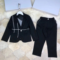 Wholesale formal boys clothes - 2018 Weddings boys suit Clothes black handsome Kids Clothing Set outerwear+pants top quality